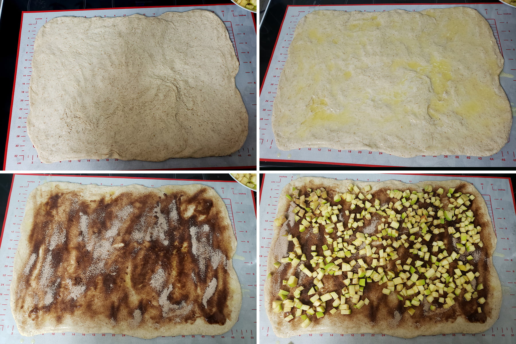 A progression showing the dressing up of the rolled dough: Rolled out, butter spread on, spiced sugar mix sprinkled over it, and finally chopped apples arranged all over it.