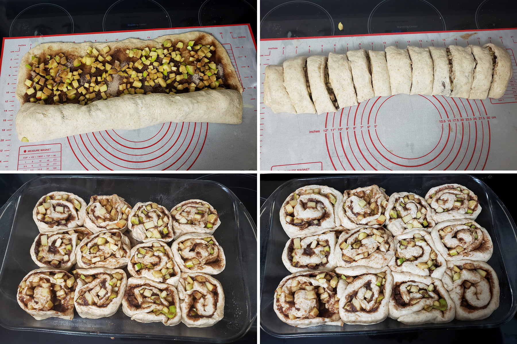A 4 photo collage showing the progression from rolling up the cinnamon rolls, through cutting them and placing them in the pan, to what they look like after the final rising time.