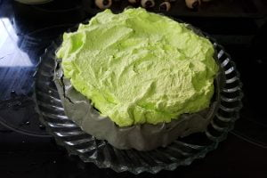 Neon green whipped cream, piled on a deep grey meingue base.