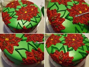 A collage of 4 images demonstrating the steps described above - piping green leaves onto this brush embroidery poinsettia cake.