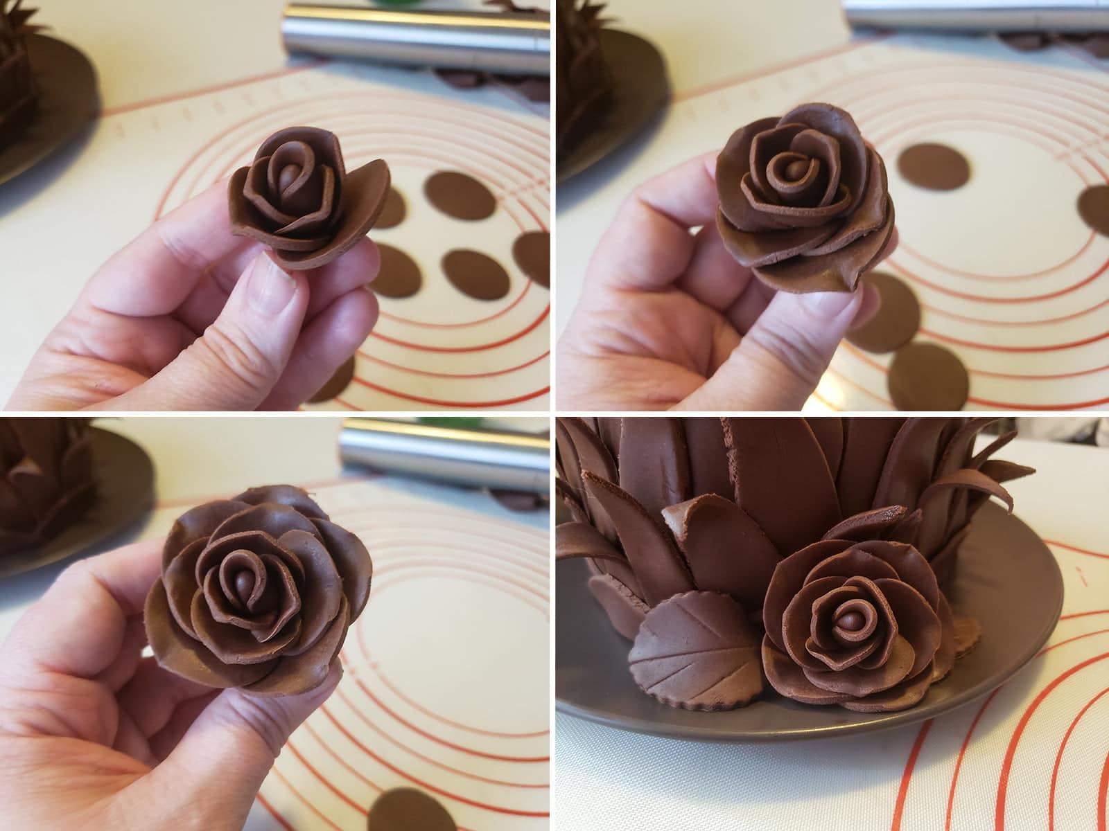 A 4 part compilation image demonstrating the final steps and placement of a chocolate fondant rose.