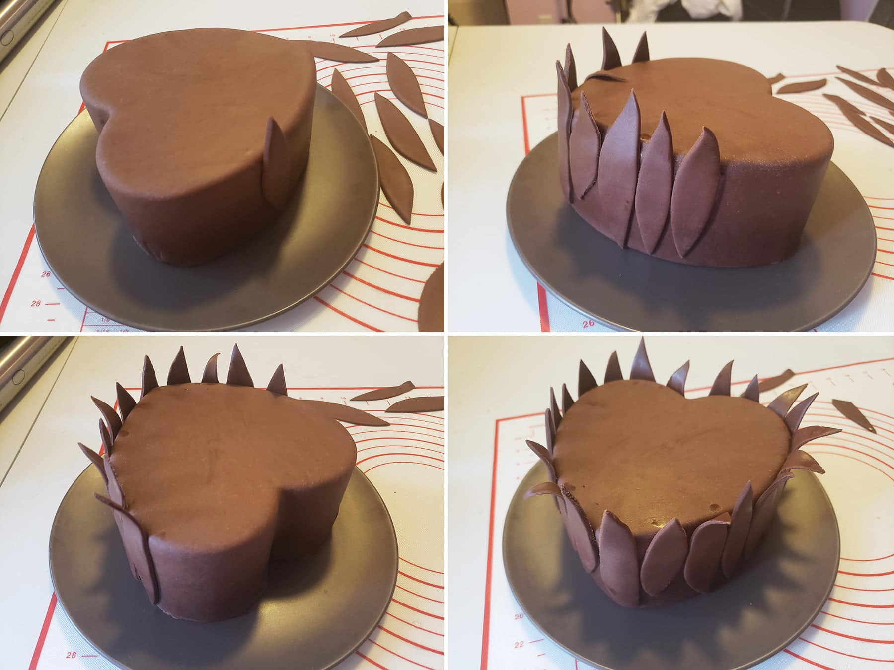 A 4 part compilation image , demonstrating how to attach the first round of chocolate leaves to the cake.