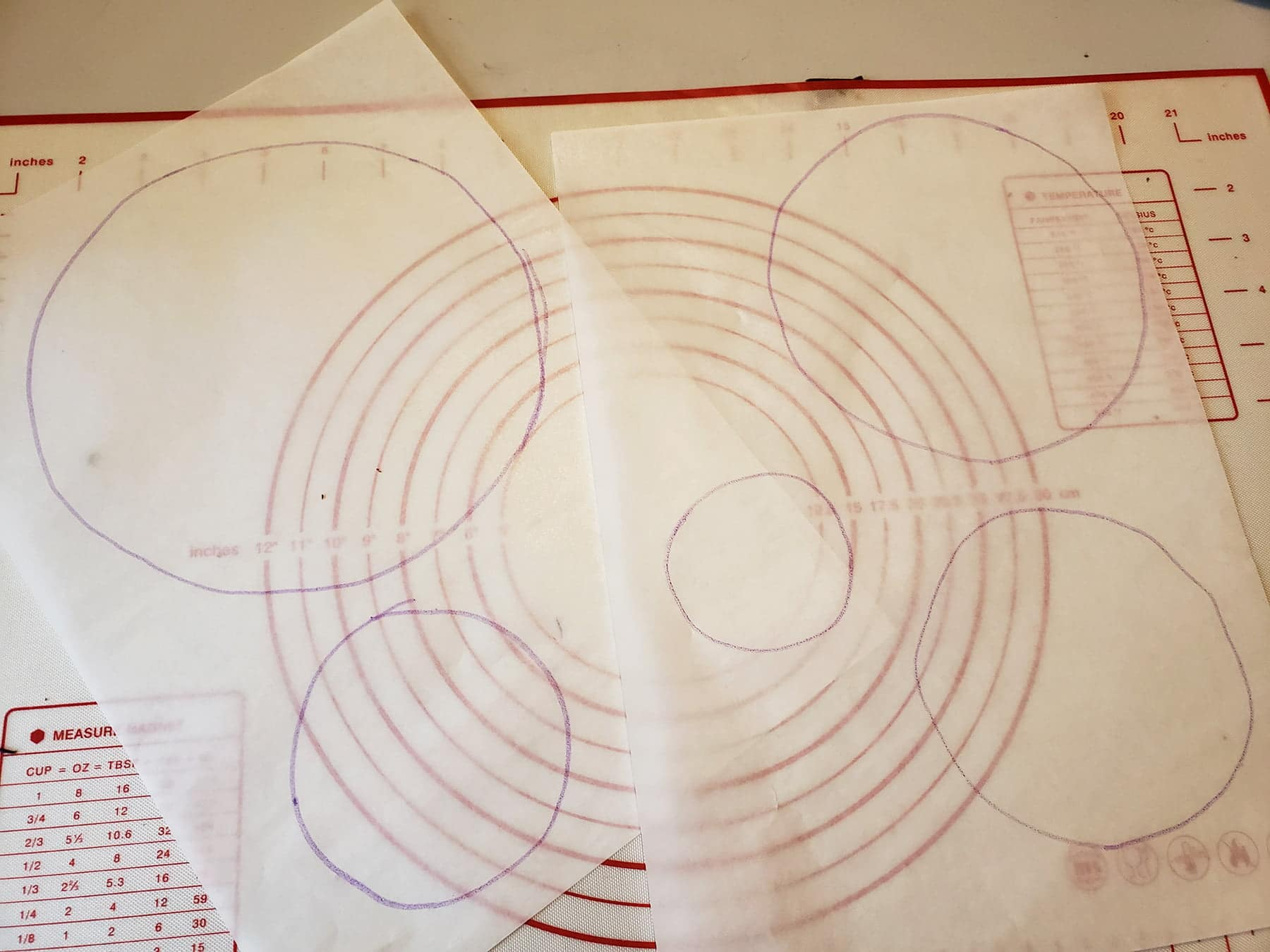 Two sheets of parchment paper are positioned over a circle drawing template.
