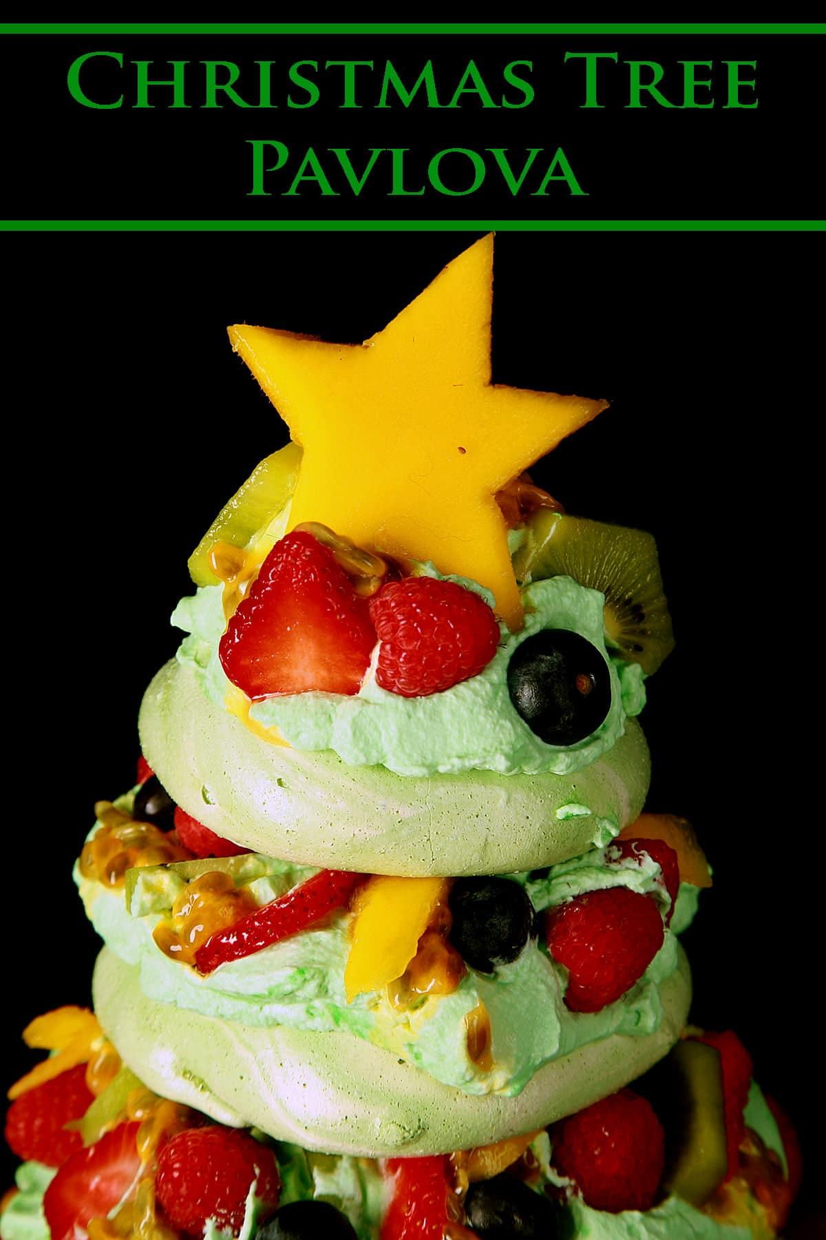 The top 3 layers of a Christmas Tree themed Pavlova.