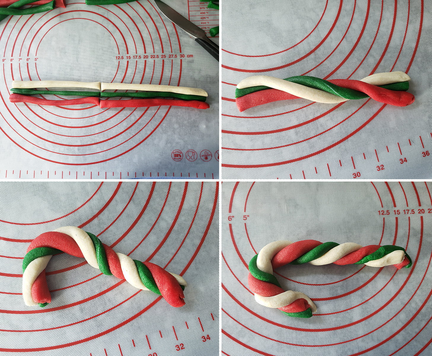 a 4 photo collage demonstrating the second rolling technique described.