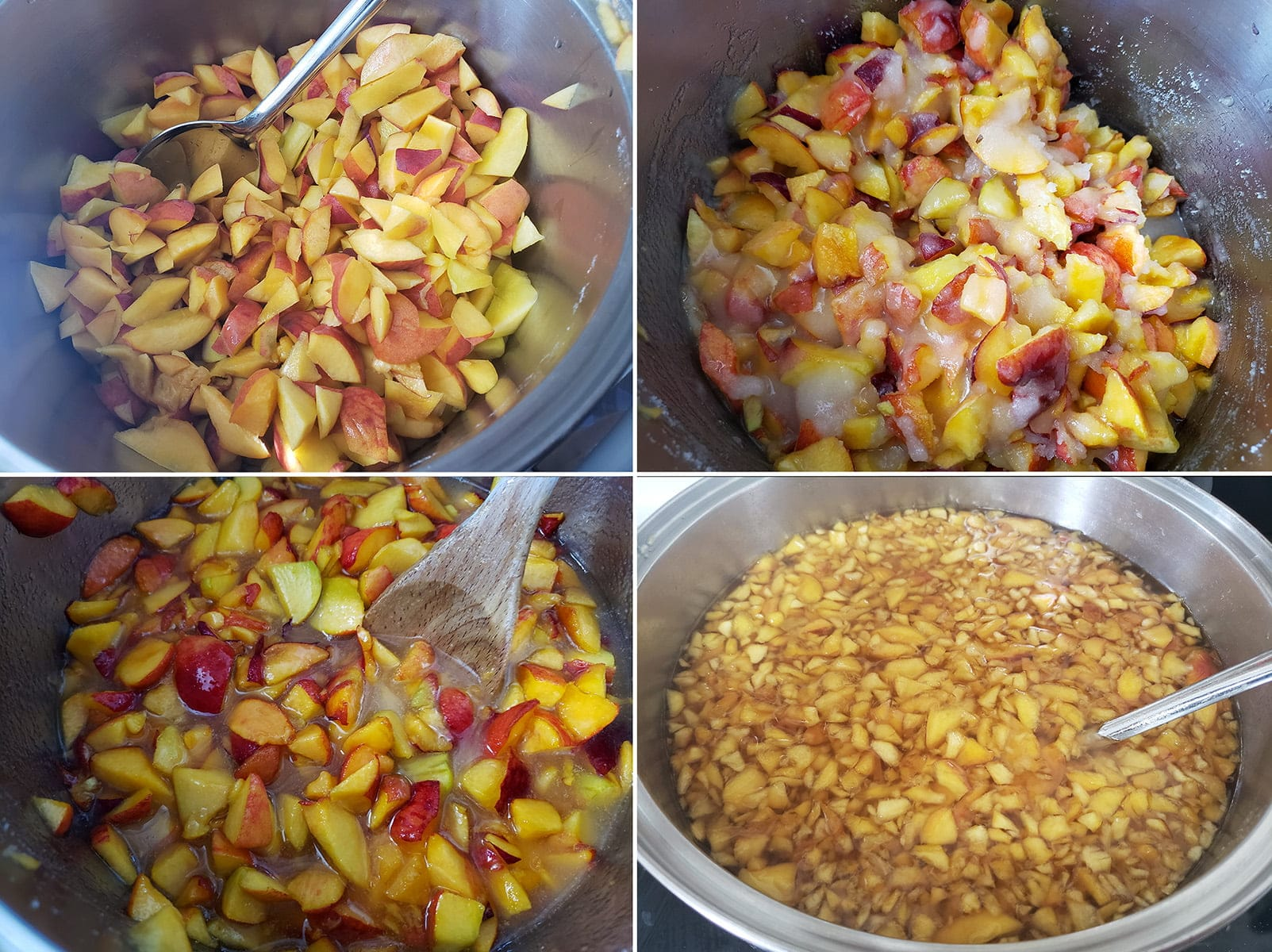 A 4 photo collage howing the progression from chopped peaches, to chopped peaches with sugar, to pacerated peaches in their own juice, to a pot with chopped peaches, sugar, and water.