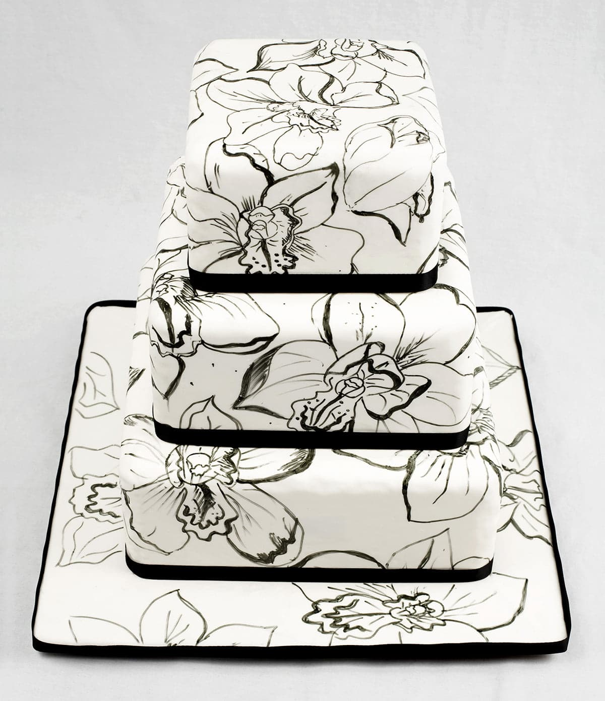 A 3 tiered square cake covered in smooth white fondant. It is covered in hand sketched black orchids, and the base of each layer is wrapped with black satin ribbon.