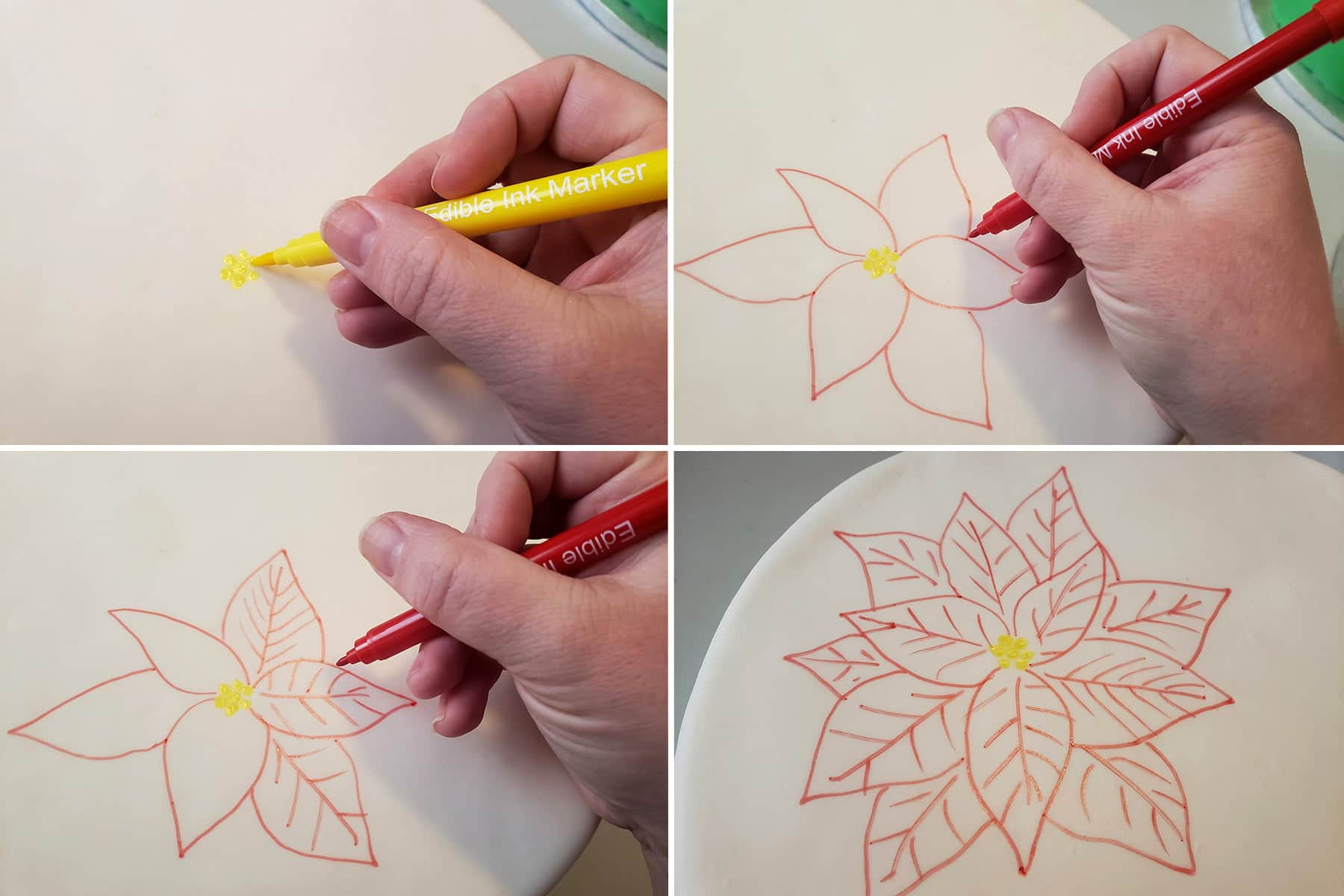 a 4 image collage picturing the first few steps of drawing poinsettias on a smooth white cake.