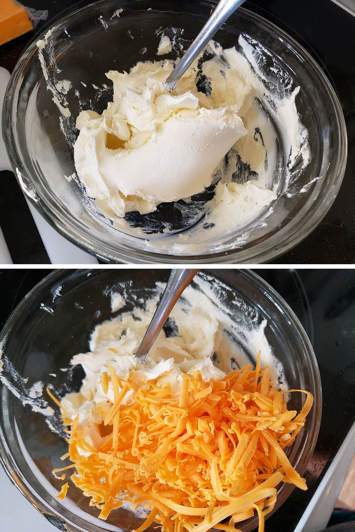 A two part image showing cream cheese being beaten, and cheddar cheese being added to it.
