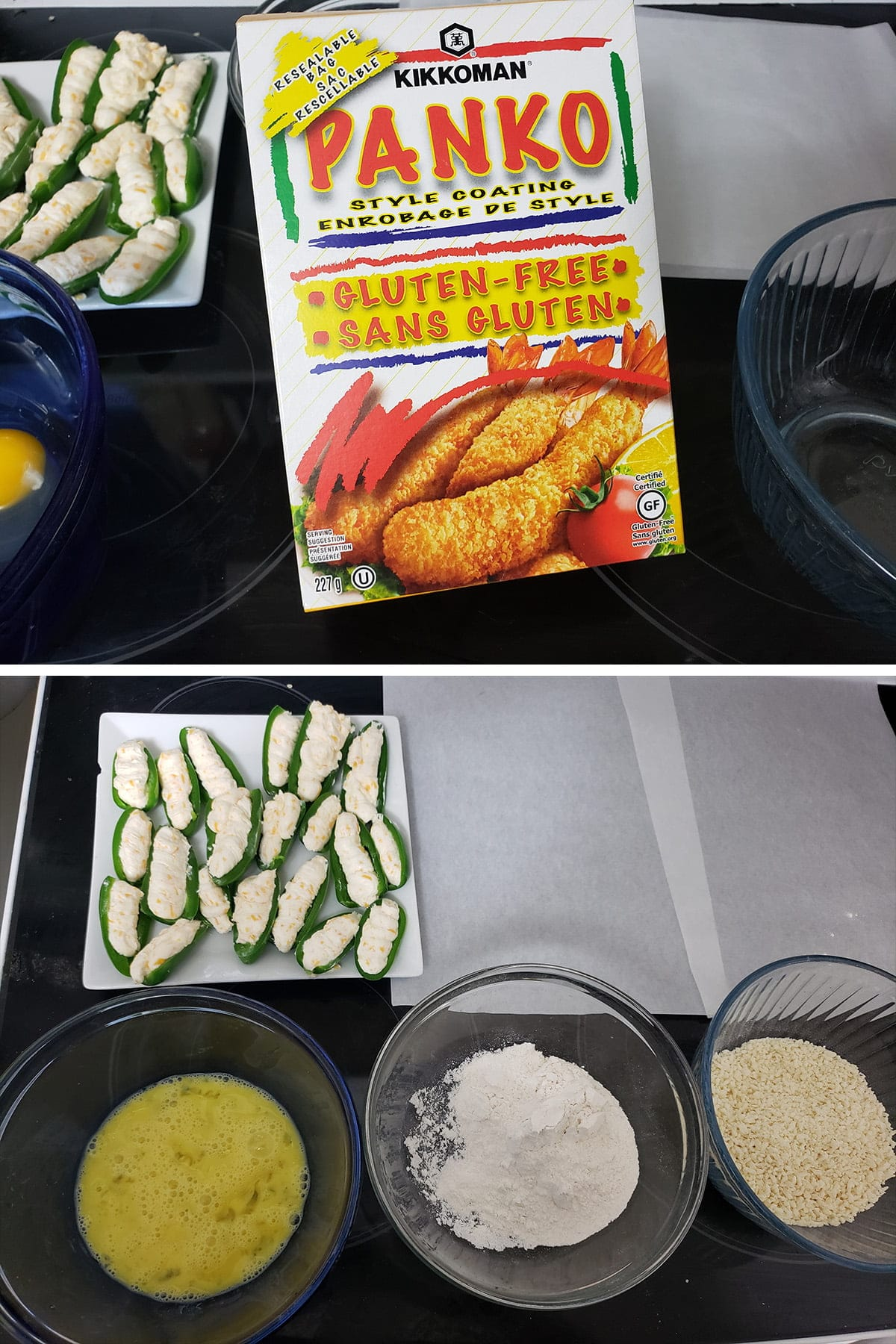 A two part compilation image showing a box of gluten-free panko crumbs, and a set up of 3 bowls with egg, flour, and panko in them.