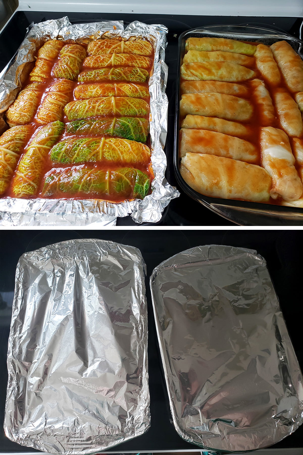 A two part compilation image showing the cabbage rolls in their pans, now covered with V8 juice... and fnially covered with foil.