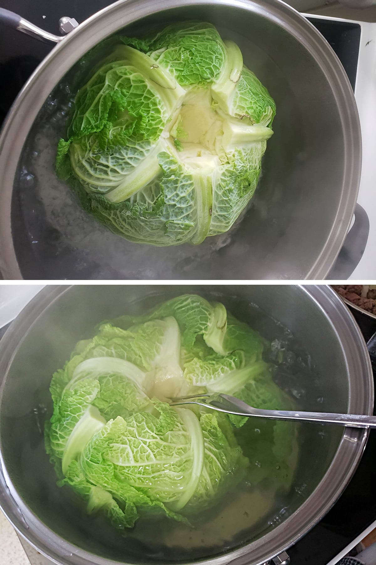 A two photo compilation image showing cabbages being boiled in a large pot.