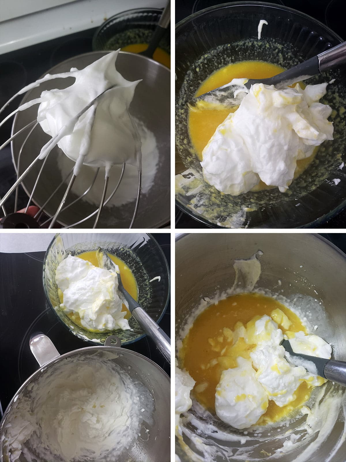A 4 step compilation image, showing the addition of the whipped egg whites and whipped cream to the orange pulp.