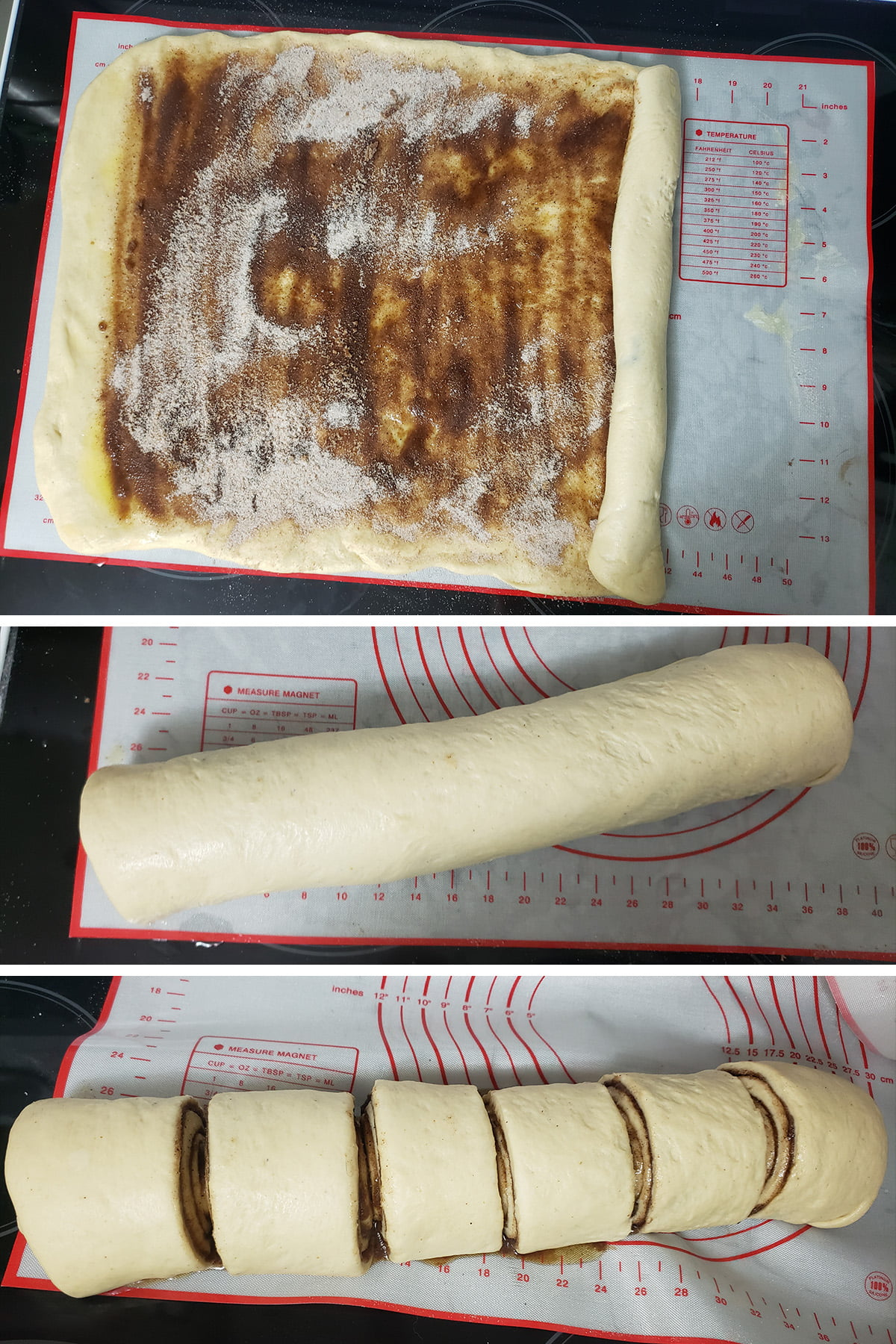 A three photo compilation image, showing the dough at the start of being rolled, having been completely rolled, and the finished log having been cut into 6 pieces.