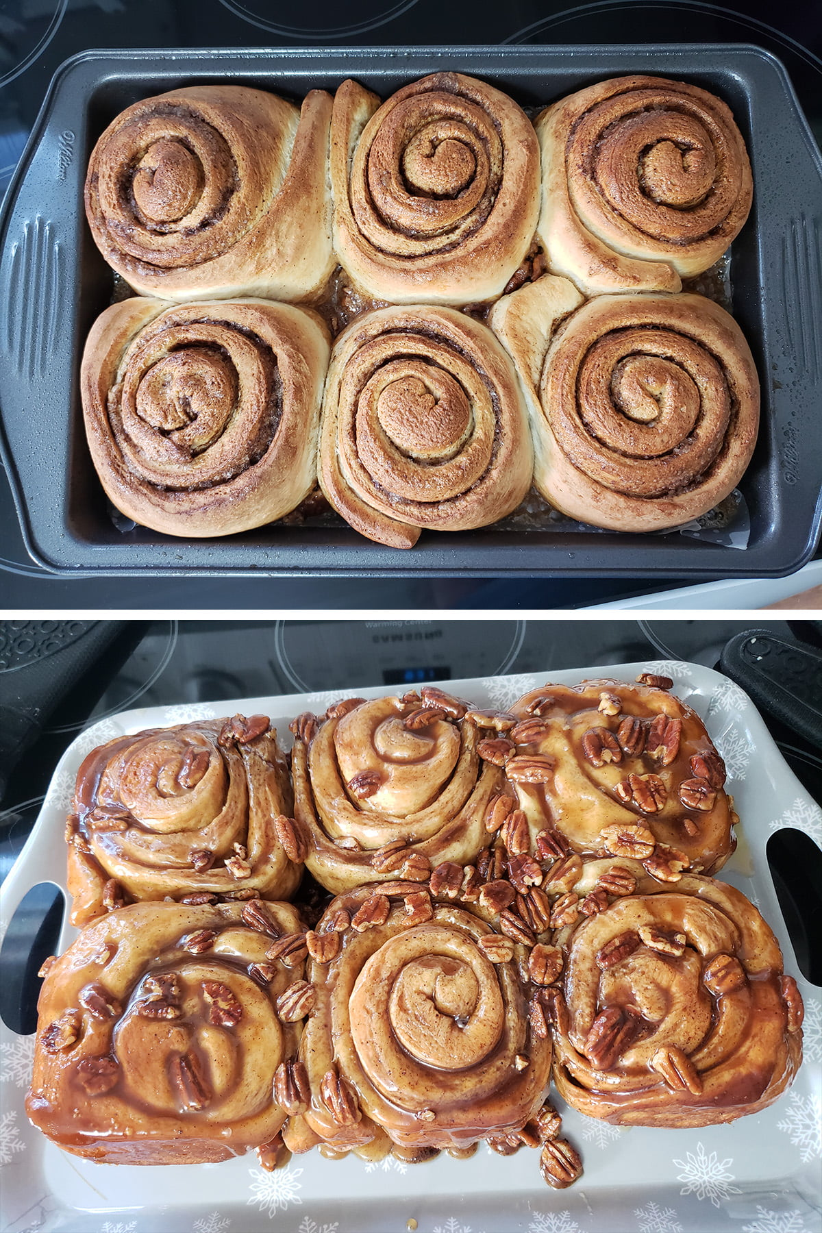 A two photo compilation image showing the baked rolls. In the top image, they are golden brown and still in the pan. In the bottom image, they've been inverted out onto a tray, with caramel oozing!
