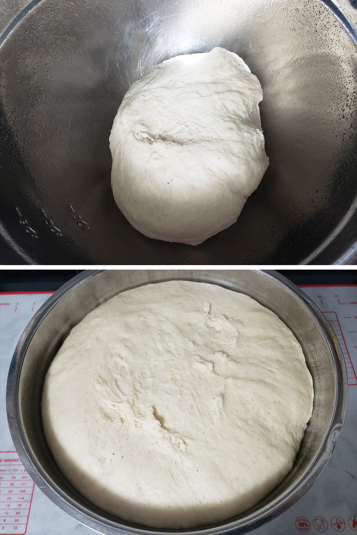 A 2 photo compilation image, showing the dough before and after rising.