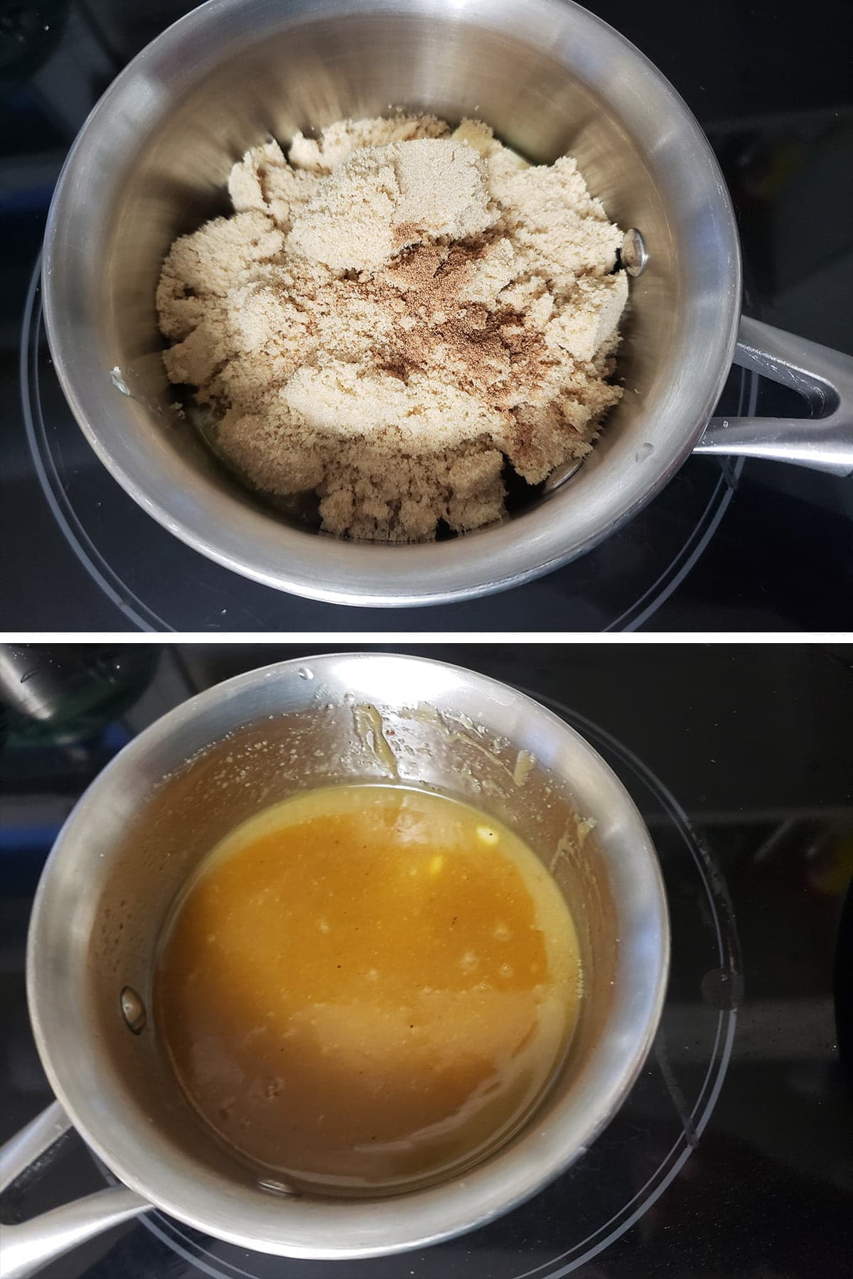A 2 photo compilation image, showing butter and brown sugar being combined, and the caramel that it turns into.