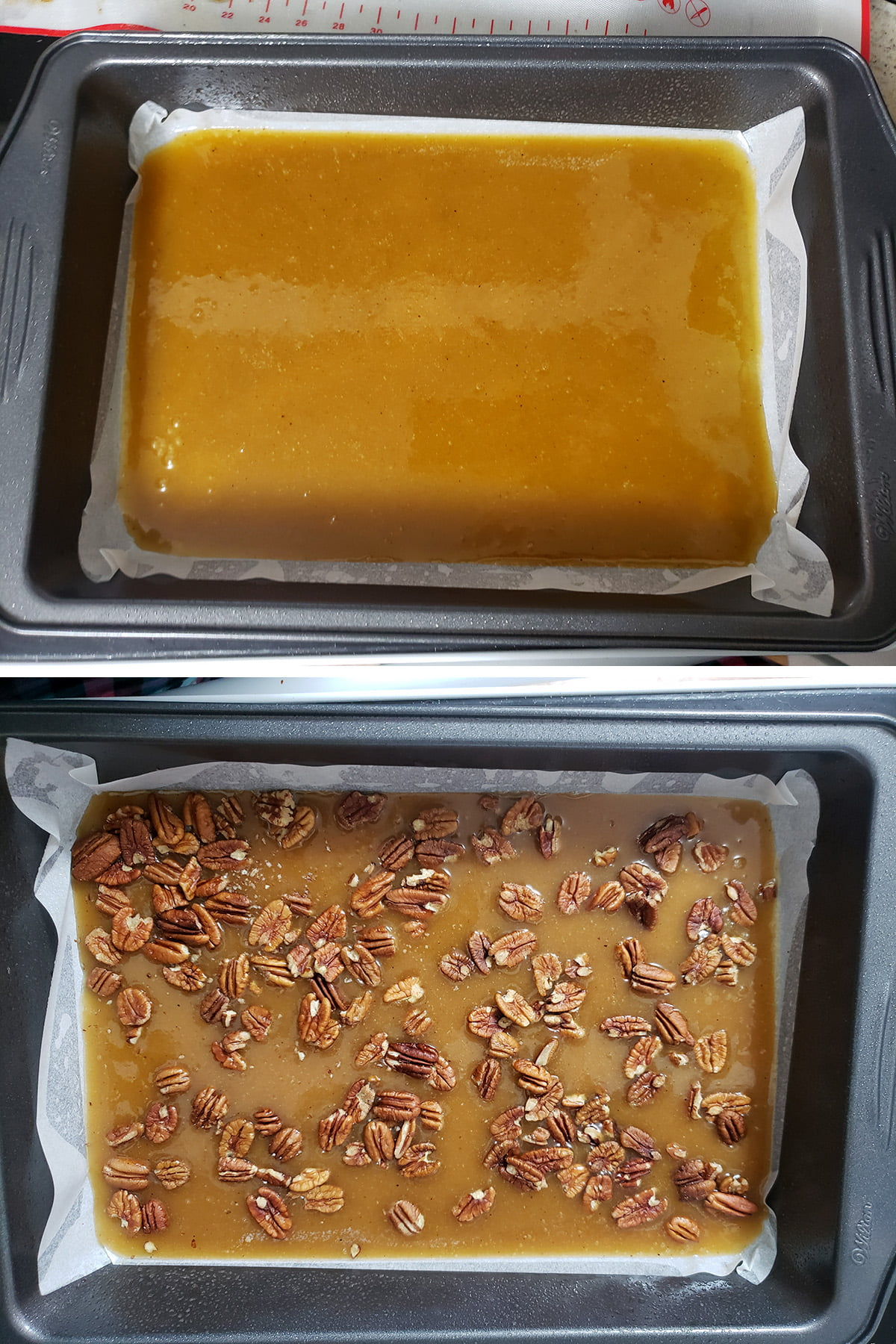 A 2 photo compilation image showing the baking pan lined with caramel, and then with pecans added.