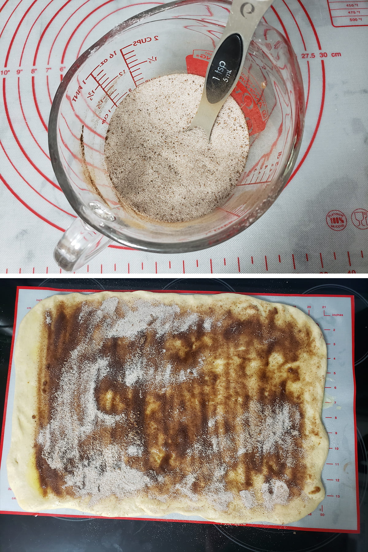 A 2 photo compilation image showing a measuring cup with spiced sugar, and the spiced sugar having been spread over the buttered dough rectangle.
