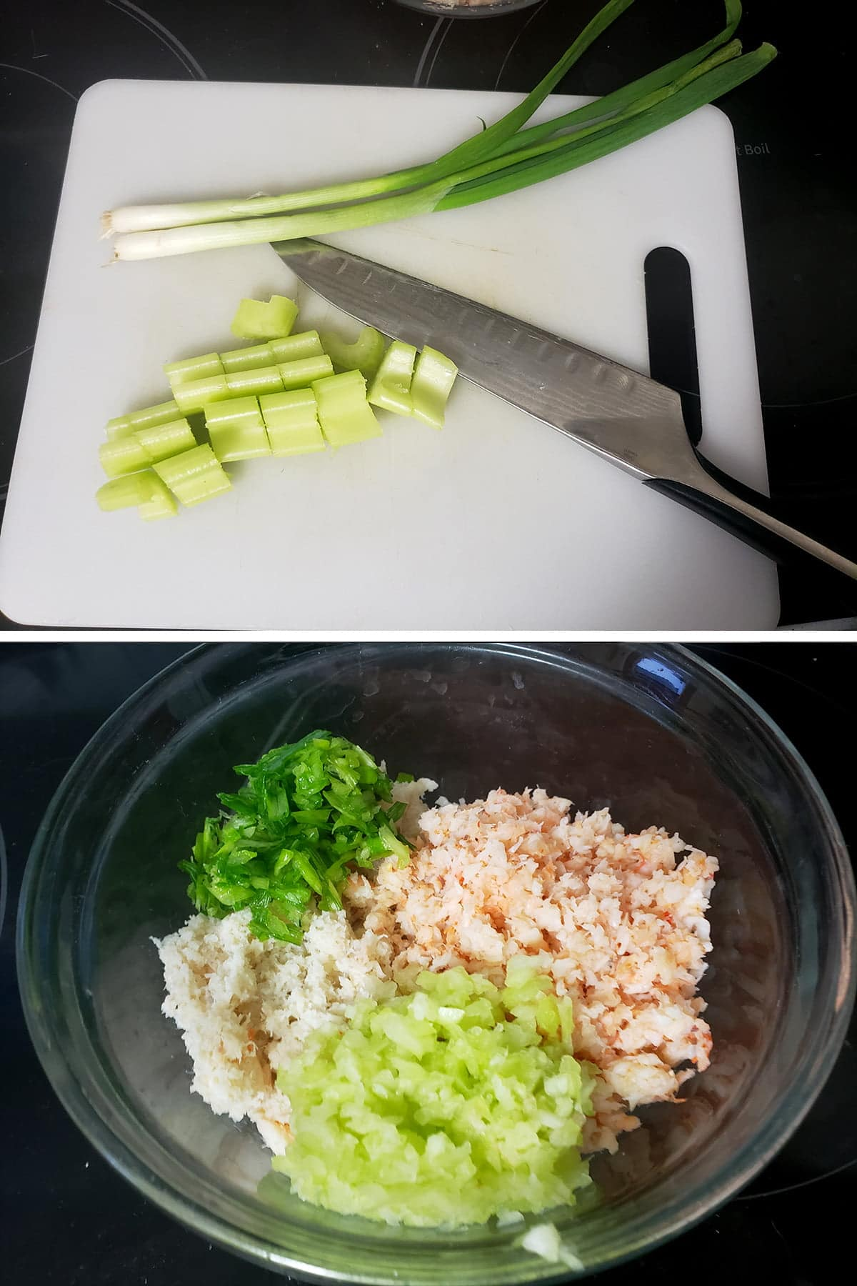 A two part compilation image showing a knife and cutting board with celery and green onions, and a bowl with the chopped celery and green onions in it.