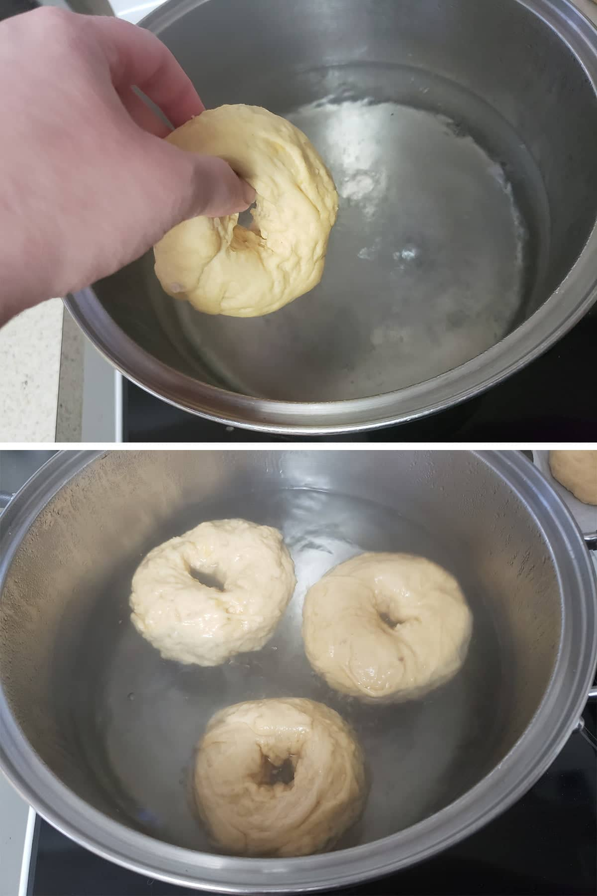 A two part compilation image showing a bagel being added to boiling water, and 3 bagels floating in a pot of boiling water.