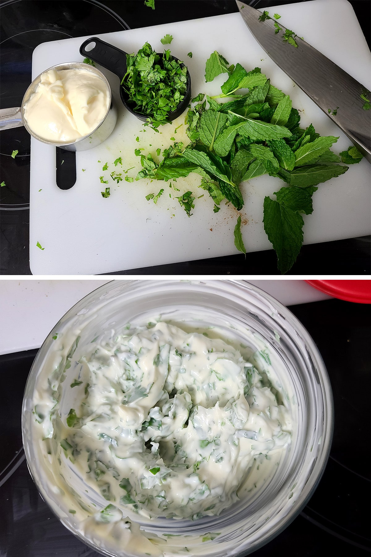 A two part compilation image showing mint and cilantro on a cutting board with a measuring cup of mayo, then all of it stirred together in a glass bowl.