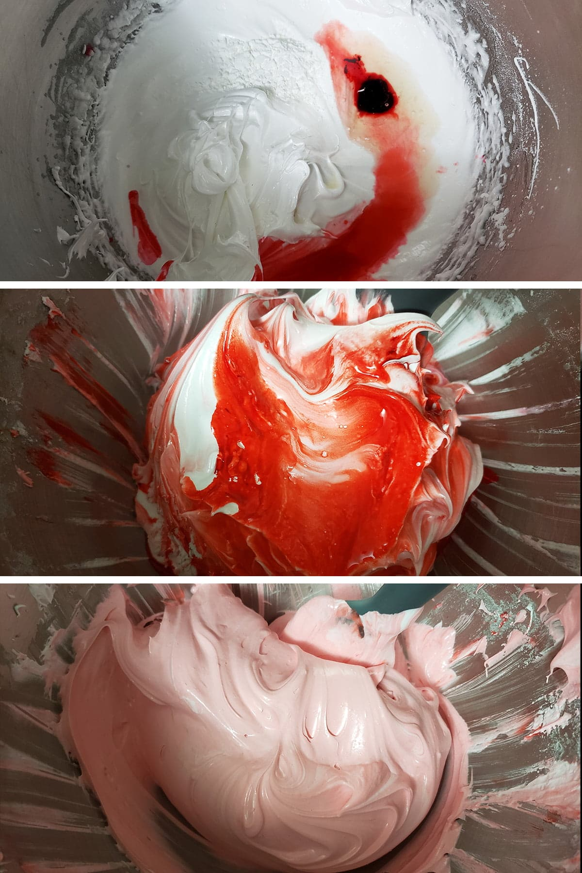 A 3 part compilation image showing stages of adding food colouring, cornstarch, and vinegar to the meringue, and gently stirring it in.