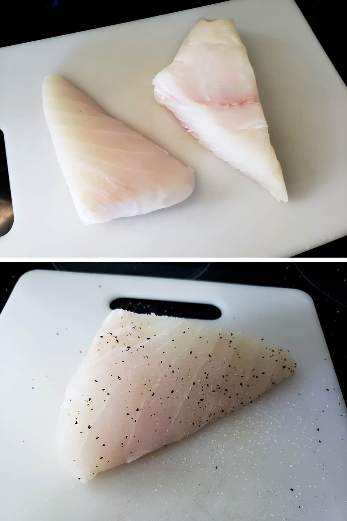 A two part image showing two pieces of halibut on a cutting board, then being seasoned with salt and pepper.