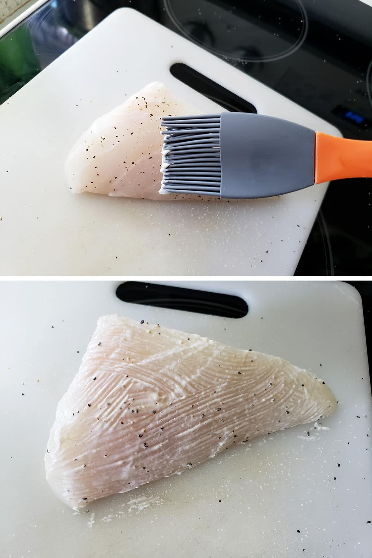 A two part image showing a silicone brush spreading mayo on a halibut steak, and then a halibut steak thinly coated with mayo.