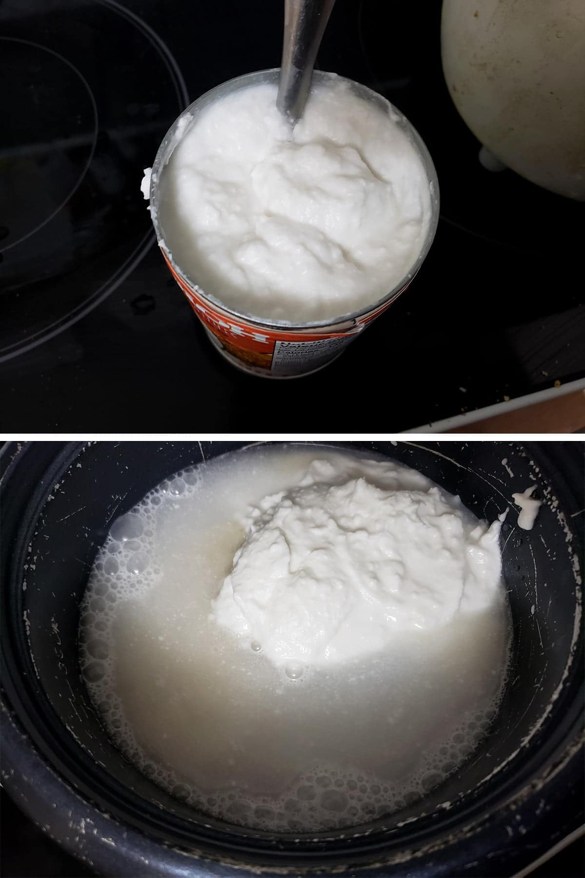 A two part image showing an opened can of coconut milk with a spoon in it, and a rice cooker with rice, water, and coconut milk in it.