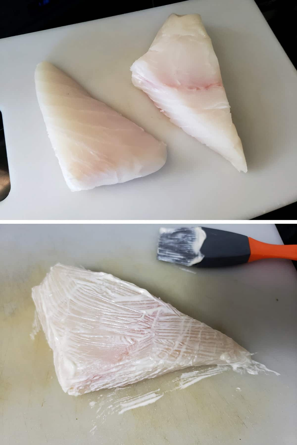 A two part image showing two seasoned halibut steaks on the top image, and a halibut steak lightly brushed with mayo on the bottom pic.