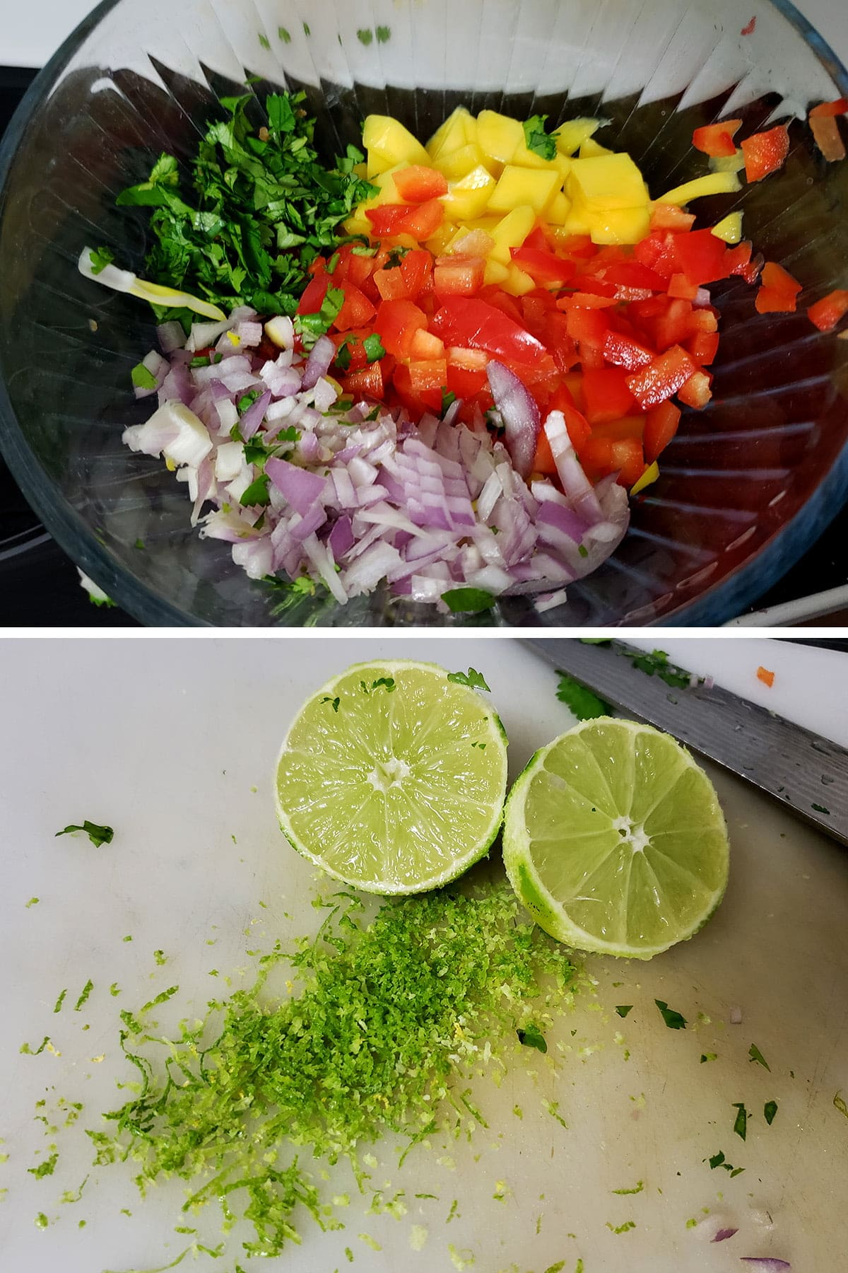 A two part image showing a bowl of chopped mango, red pepper, red onion, and cilantro on top, and a cutting board with lime zest and two lime halves on the bottom.