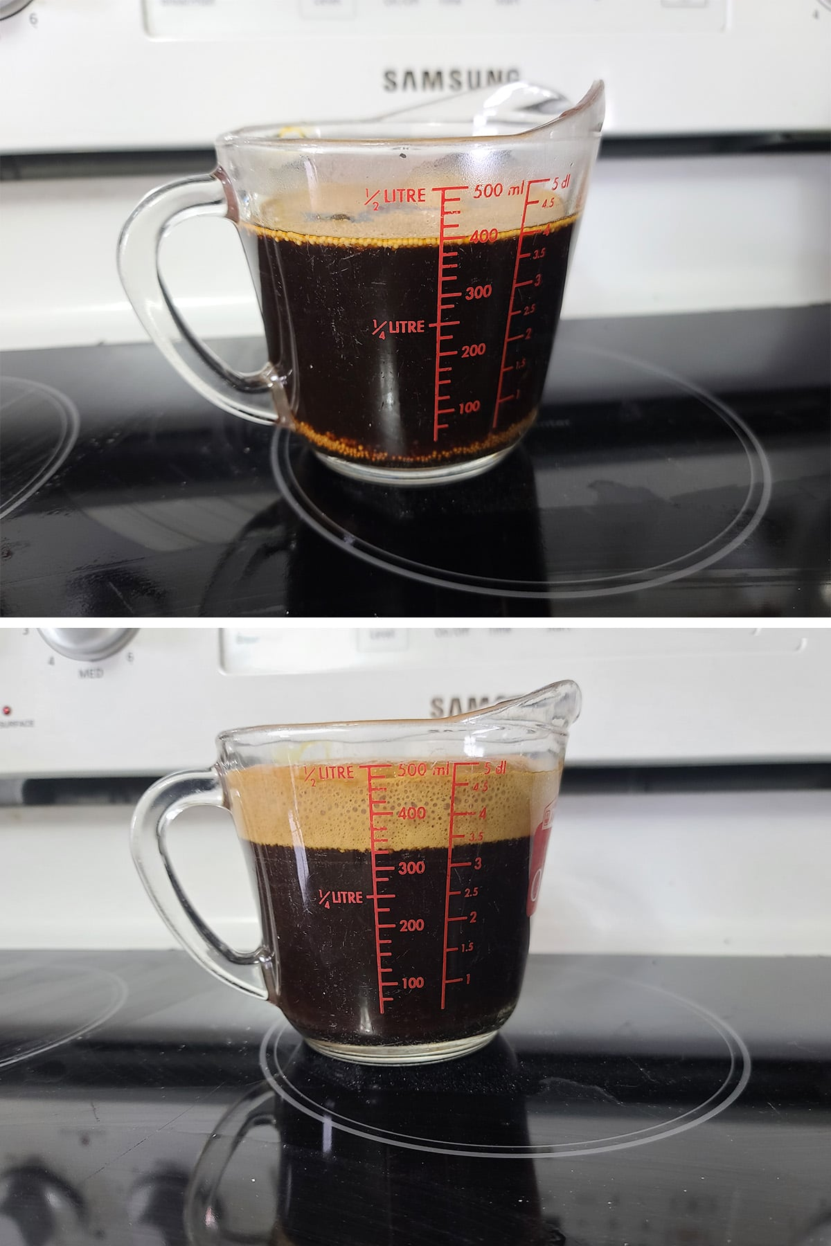 """A 2 part image showing a measuring cup of dark liquid, before and after the yeast has created a 1"""" layer of foam on top."""