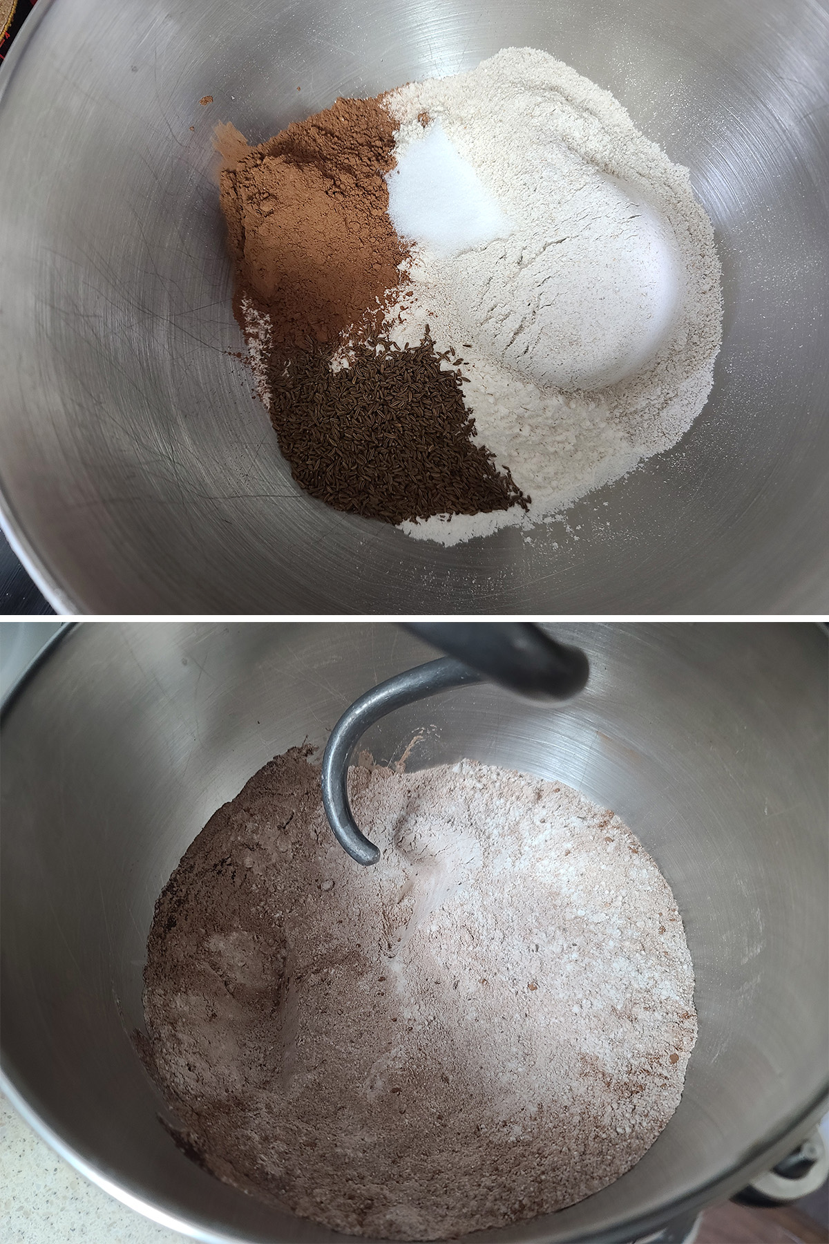 A two part image showing the dry ingredients measured into a bowl, then after they're mixed together.