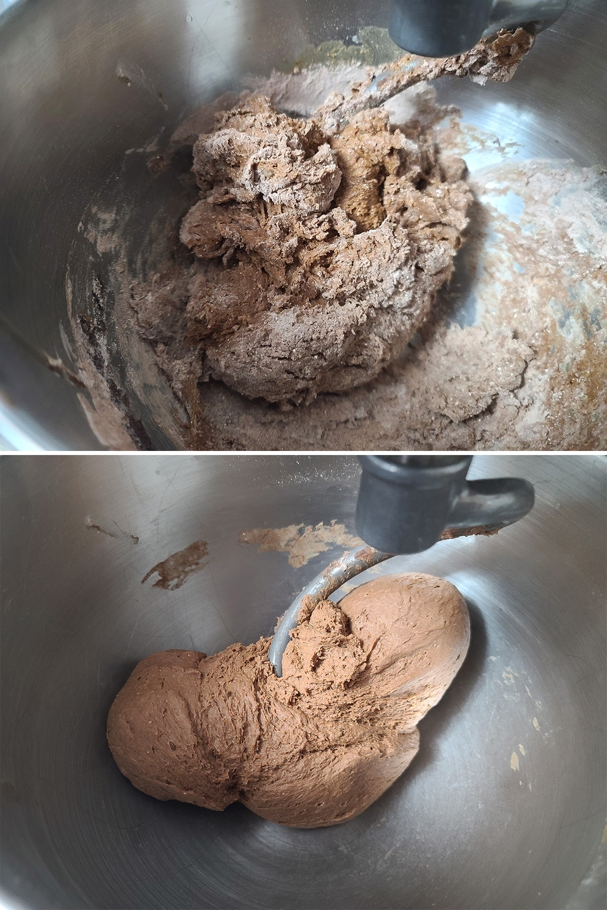 A two part image showing the dough as a rough dough, and after it's been kneaded into a smooth dough.