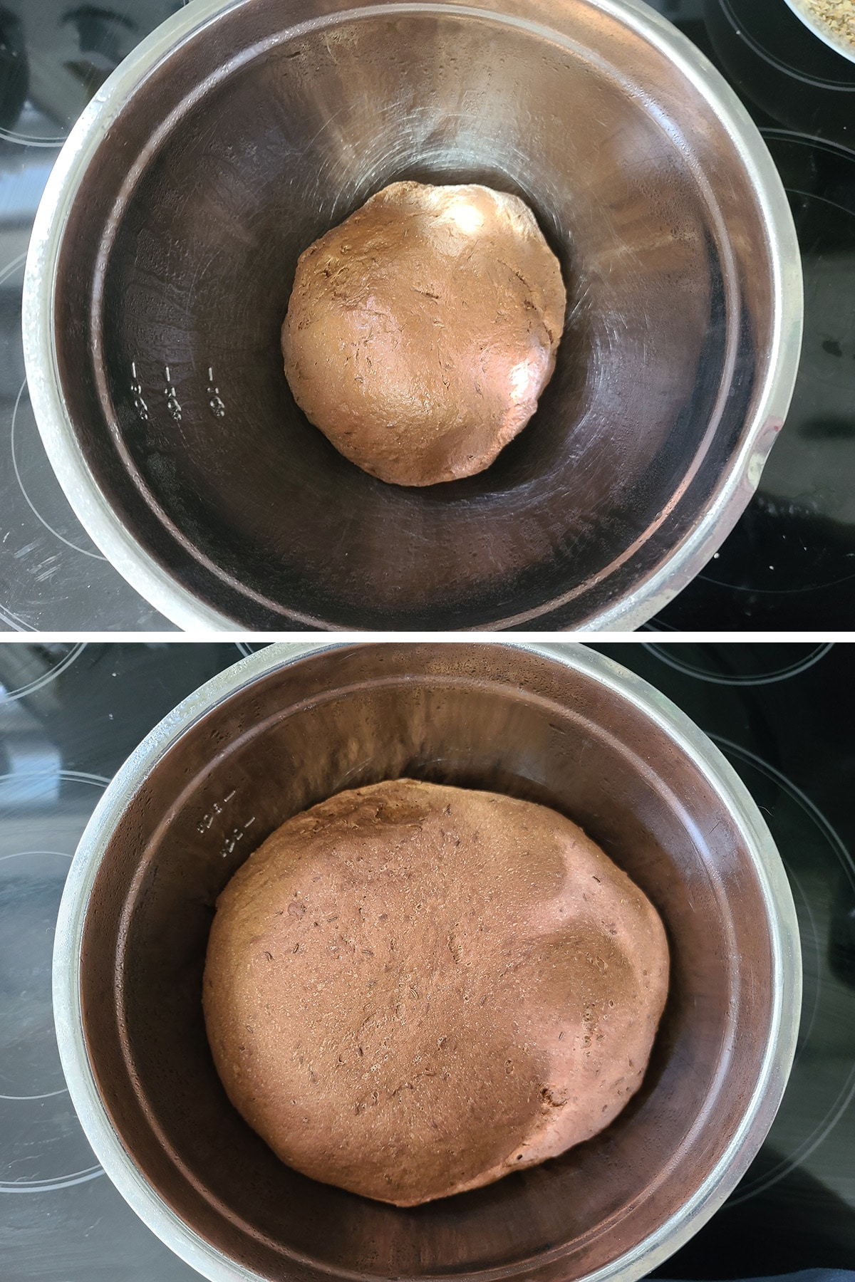 A two part image showing the rich brown dough in a metal bowl, before and after it has risen to twice the original size.