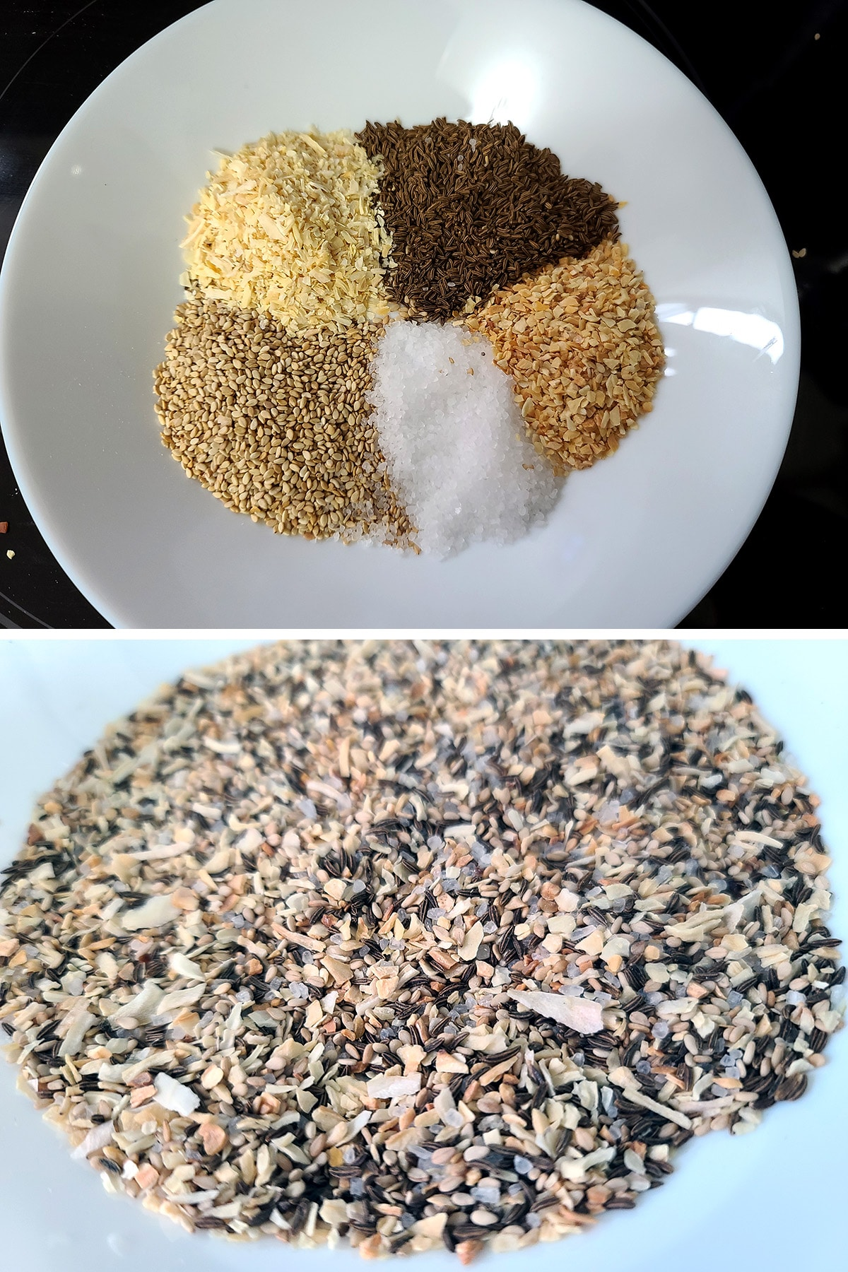 A two part image showing the ingredients for the topping measured out into a bowl, then after they've been mixed together.