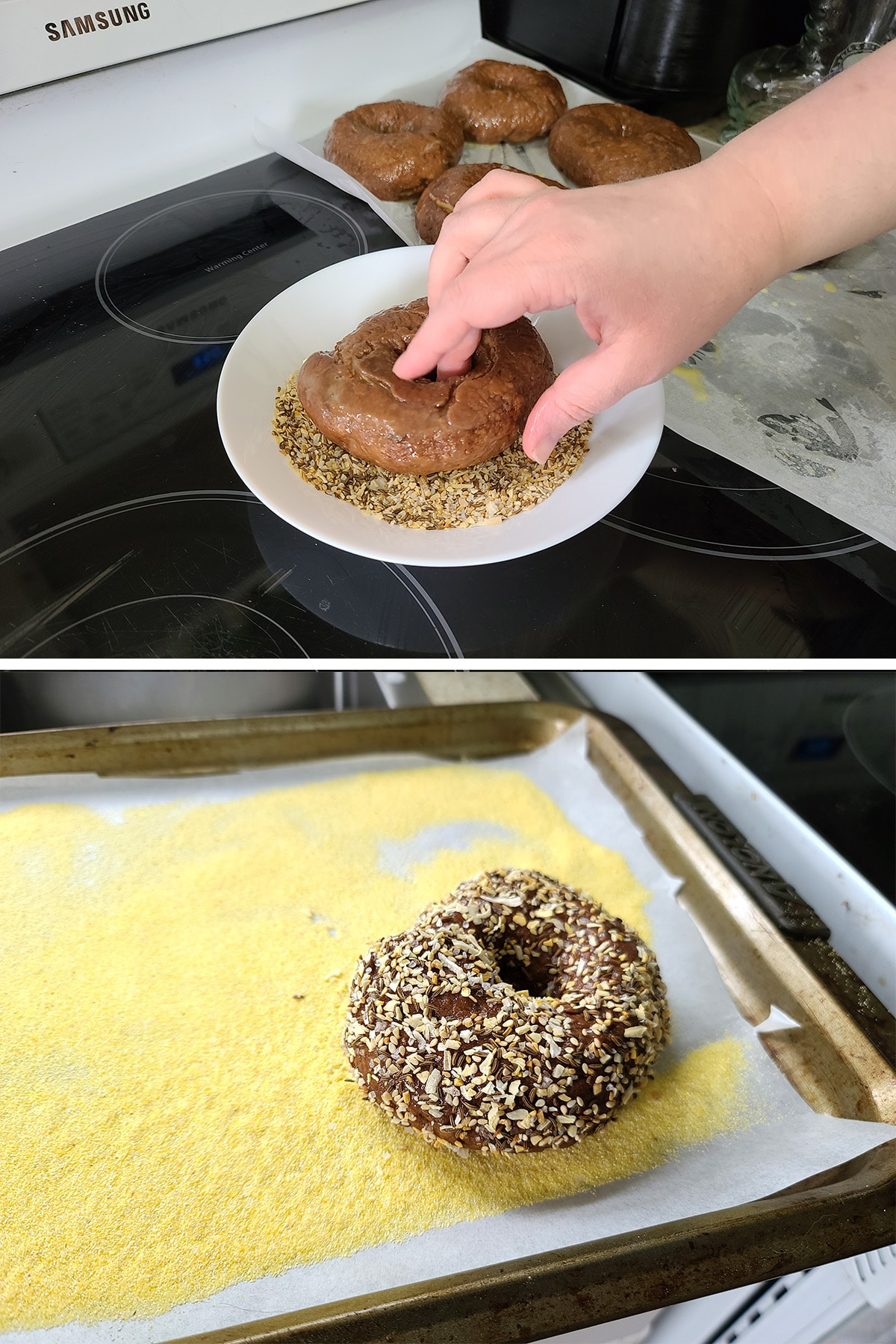 A two part image showing a round of bagel dough being  dipped in the topping, then placed on the baking sheet.