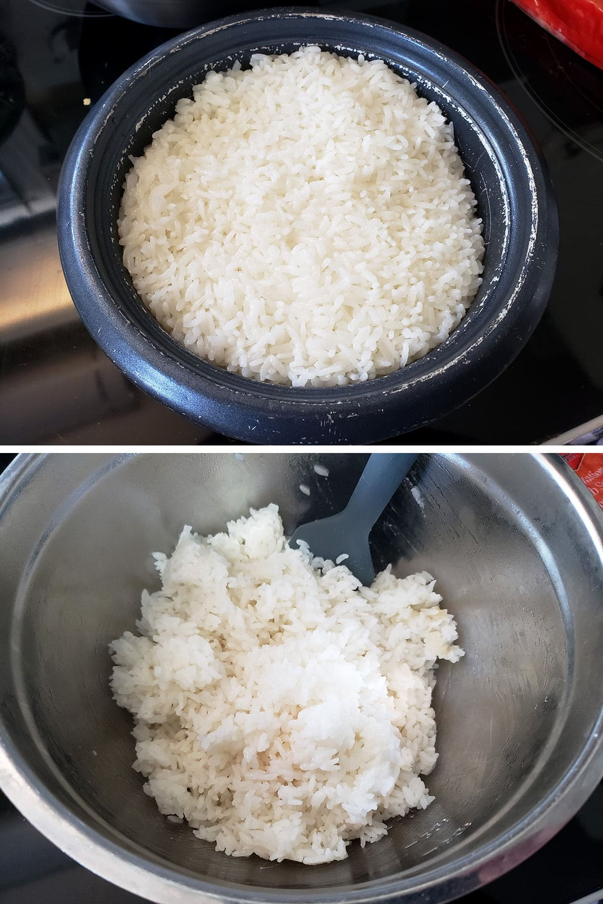 A two part compilation image showing rice in a rice cooker, then fluffed in a mixing bowl.