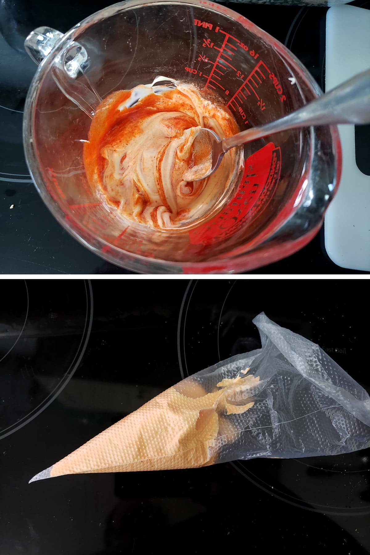 A two part compilation image showing mayonnaise and sriarcha being mixed in a glass measuring cup, and that mixture in a clear plastic pastry bag.