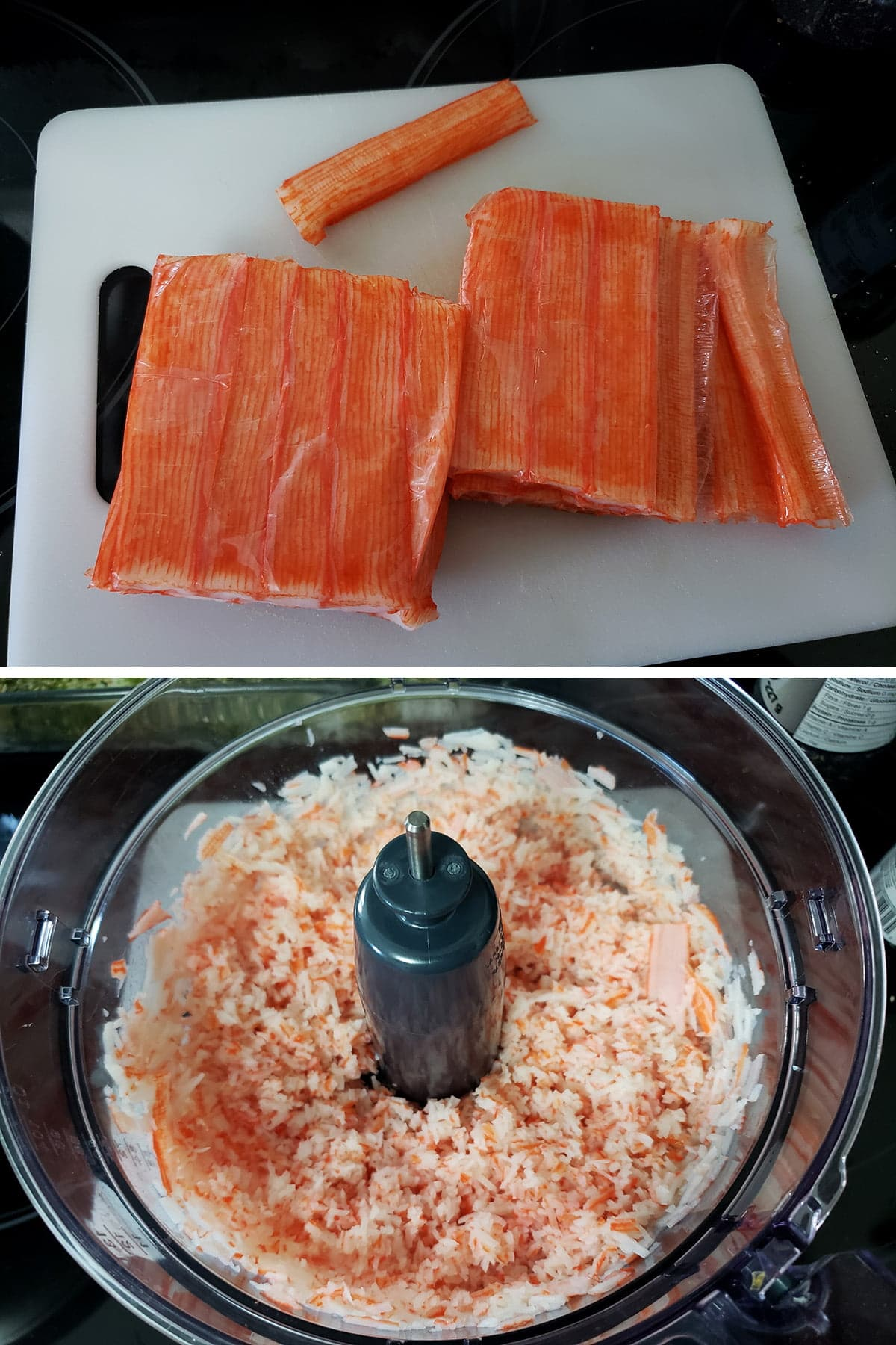 A two part compilation image showing imitation crab sticks on a cutting board, and the chopped up imitation crab in the bowl of a food processor.