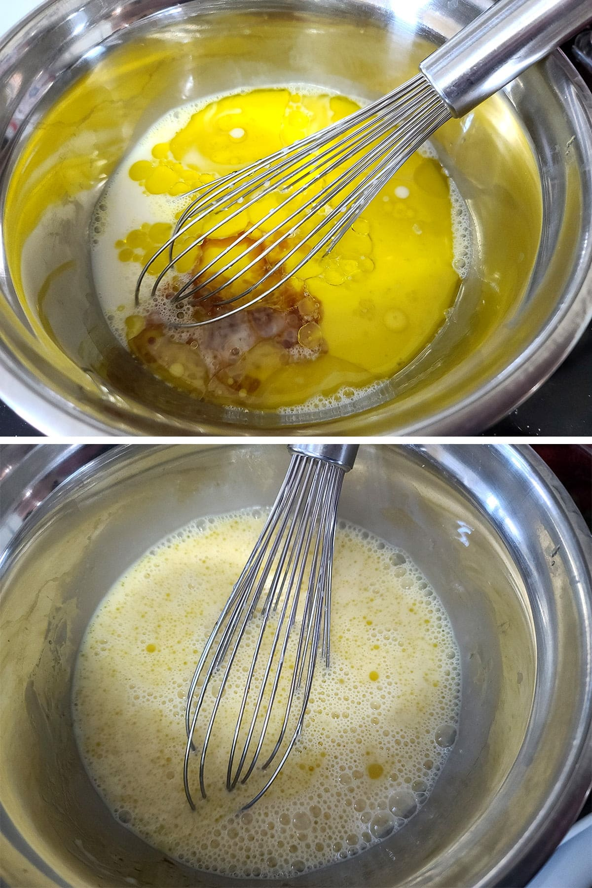 A two part compilation image showing the wet ingrediients in a stainless steel mixing bowl, before and after being whisked together.