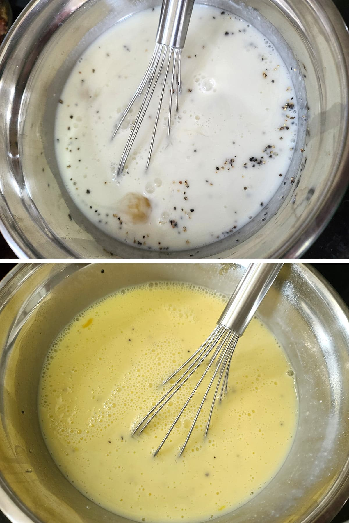 A two part compilation image showing a bowl of milk, pepper, and eggs, before and after being whisked together.