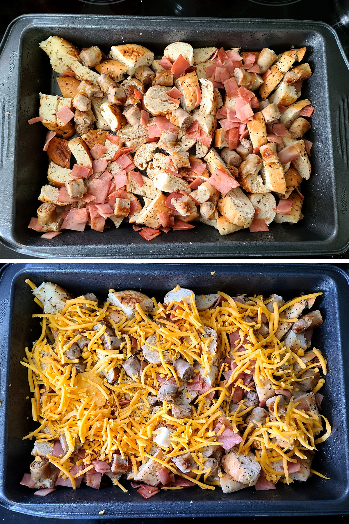 A two part compilation image showing a pan of bagel pieces and meats on top, and the same pan with a layer of shredded cheddar cheese on the bottom image.