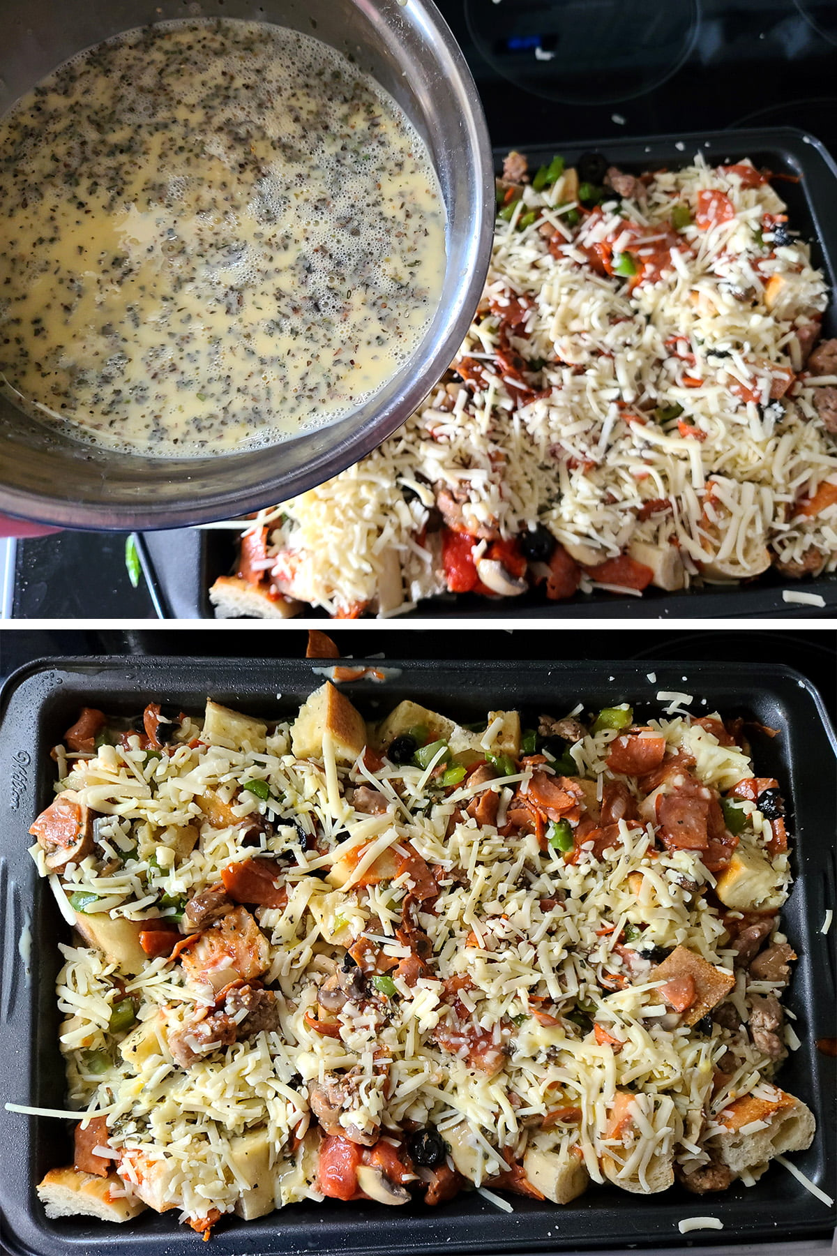 A two part compilation image showing the bowl of egg mixture being held above the pan of layered ingredients, then the pan with the egg mixture poured over everything.