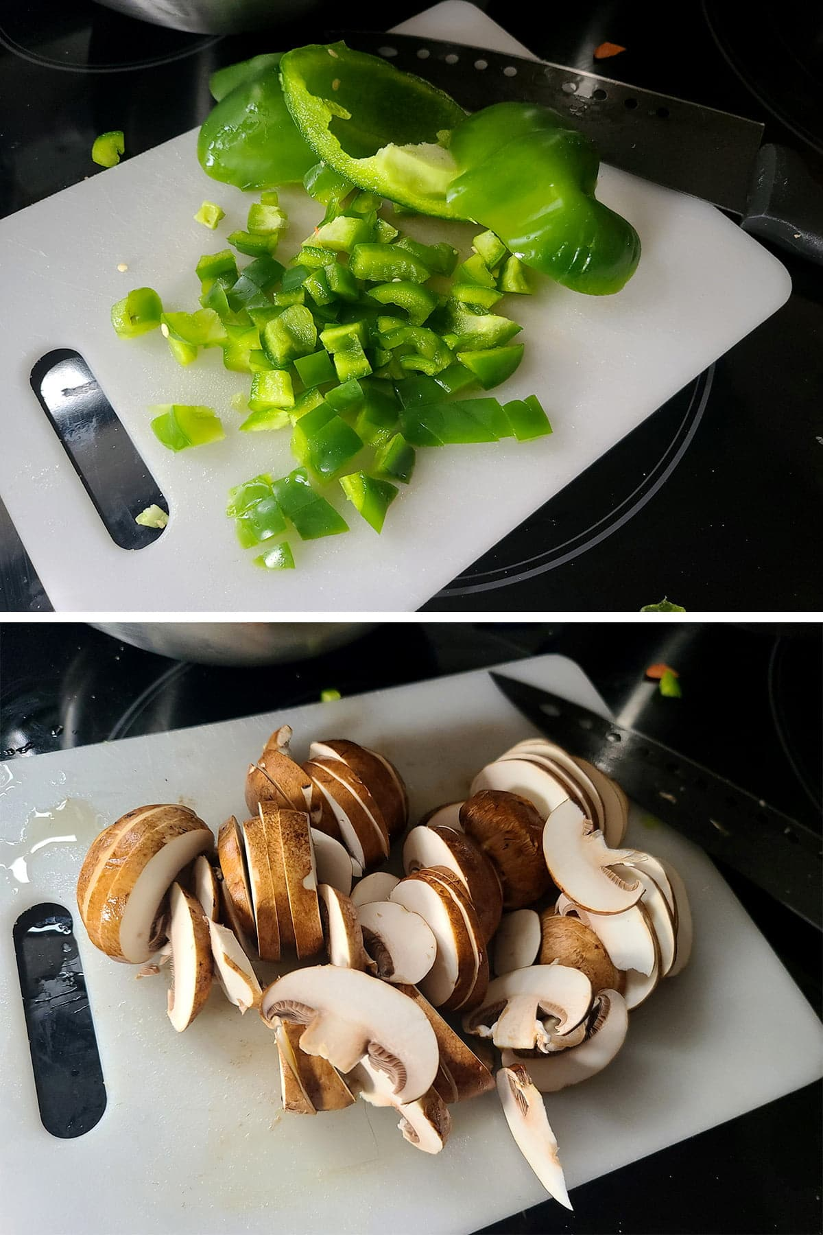 A two part compilation image showing green pepper being chopped on a cutting board, then mushrooms being thinly sliced on the same cutting board.
