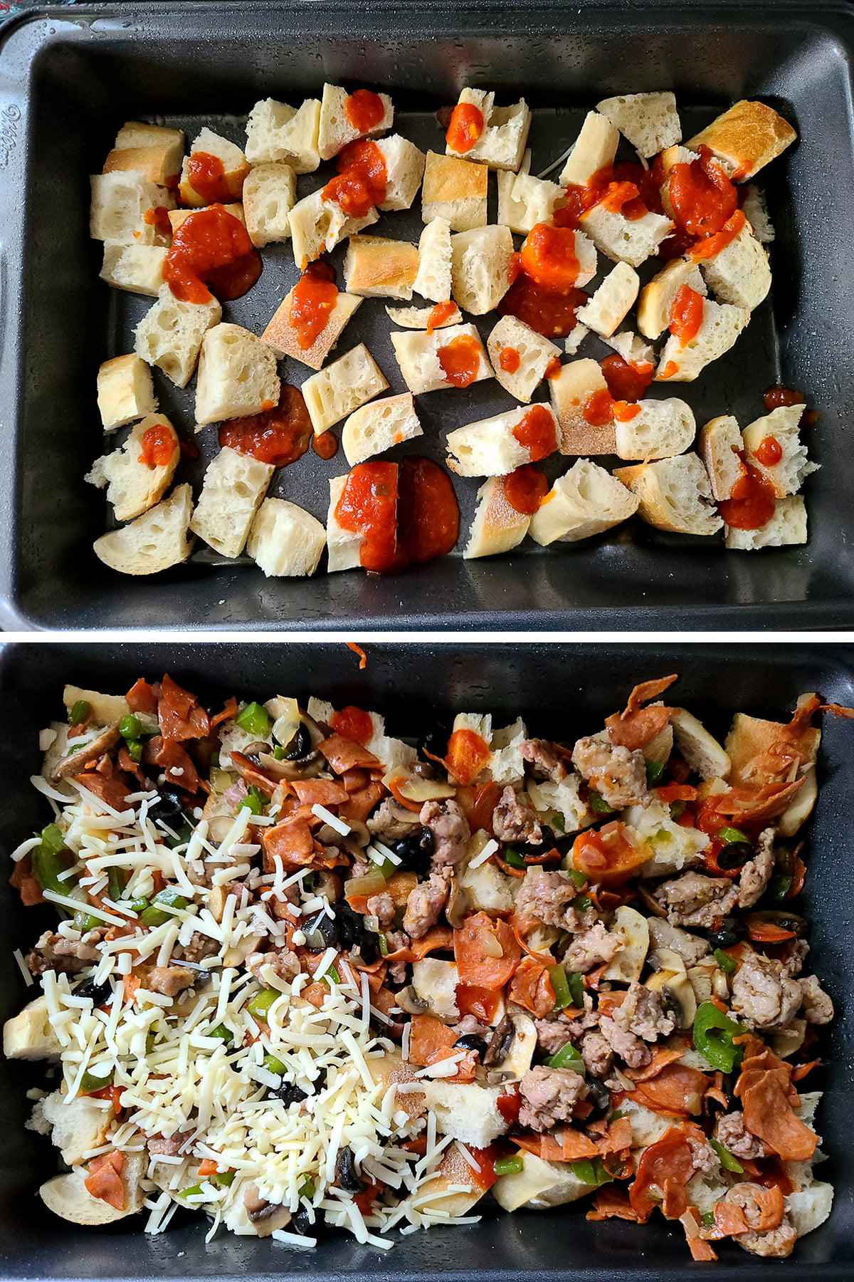 A two part compilation image showing bread and marinara sauce in a baking pan, then toppings and cheese covering it in the same pan.