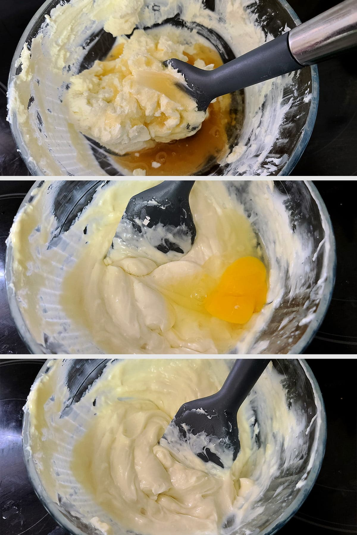 A 3 part compilation image showing goat cheese, cream cheese, and honey being mixed together until smooth,