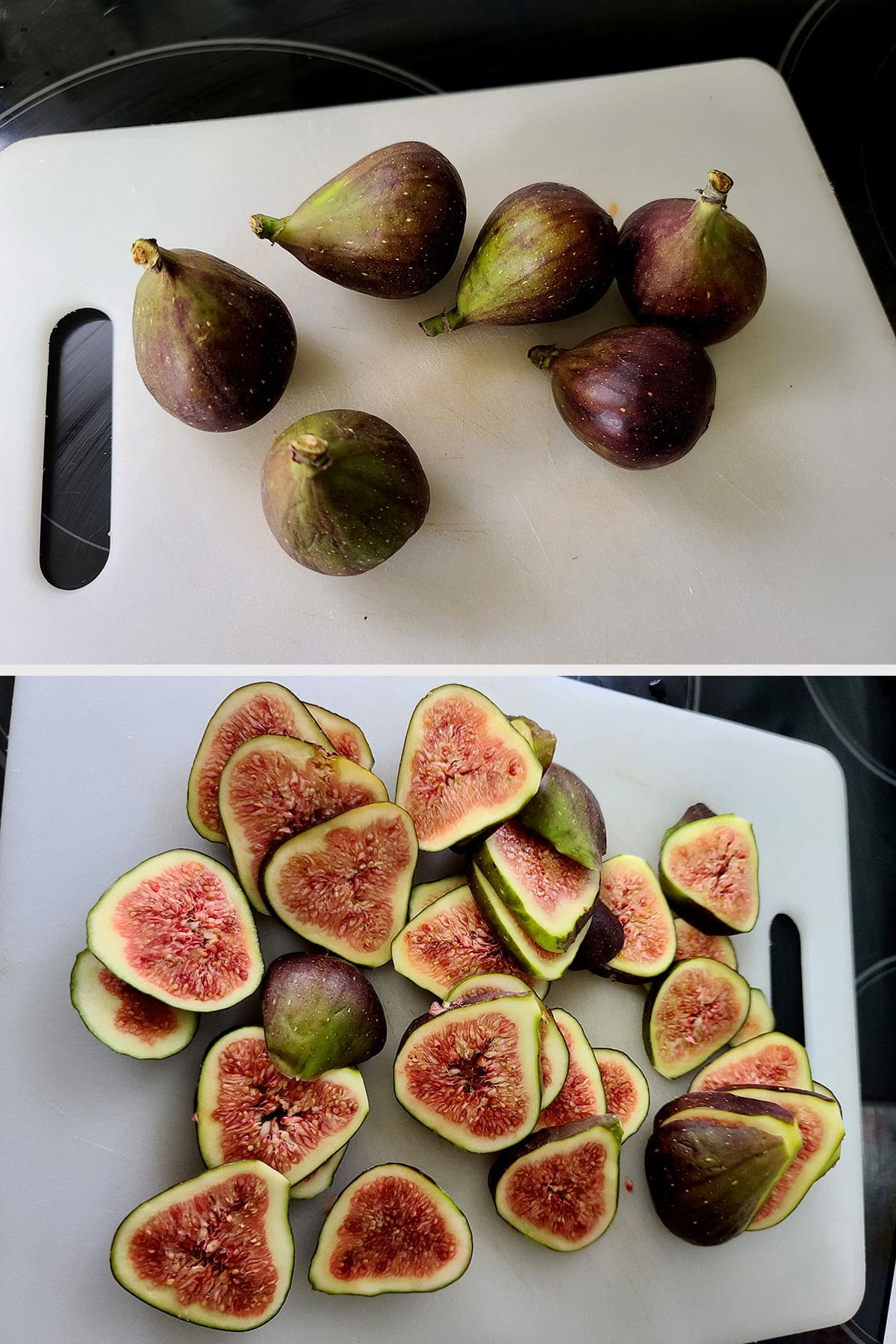 A two part compilation image showing 6 fresh figs, first whole, then sliced.