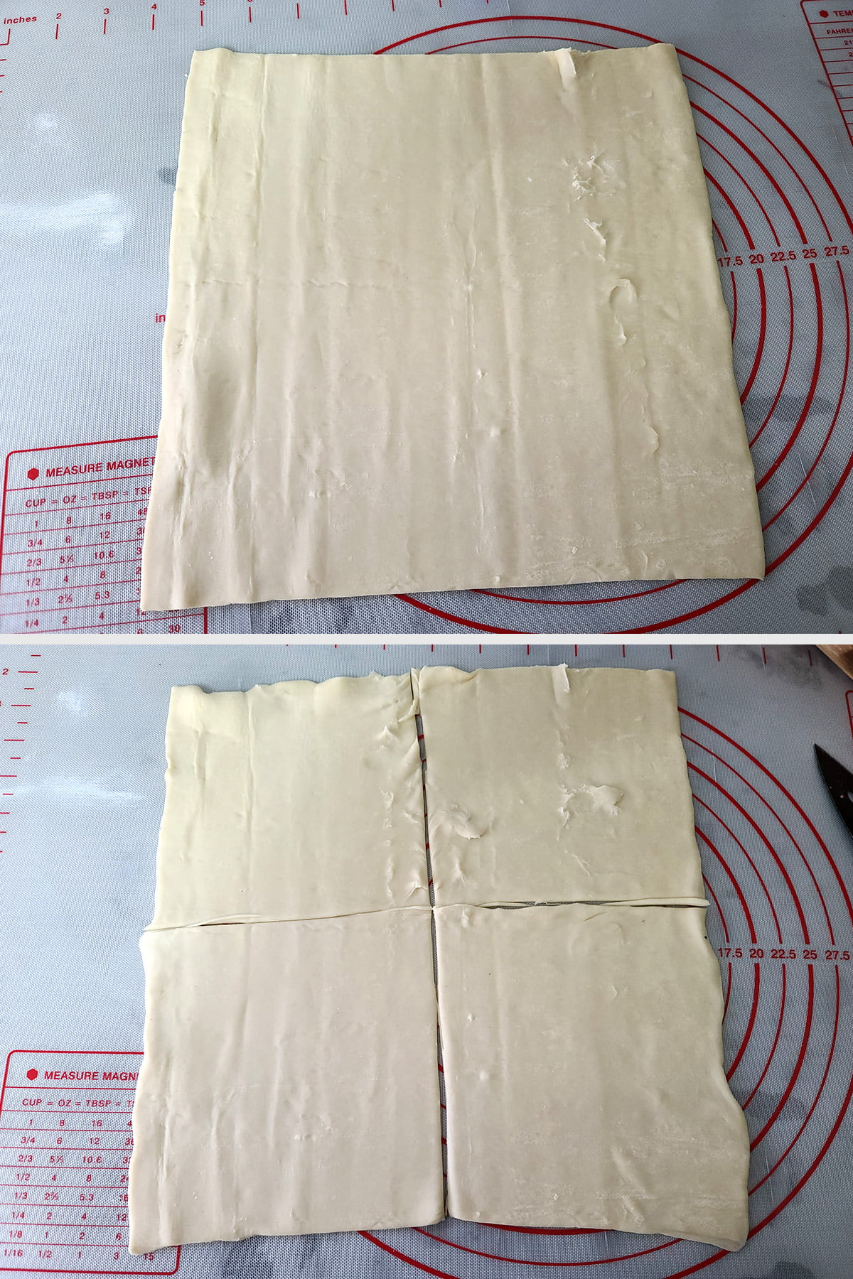 A two part compilation image showing a whole sheet of puff pastry, then the same sheet cut into 4 pieces.